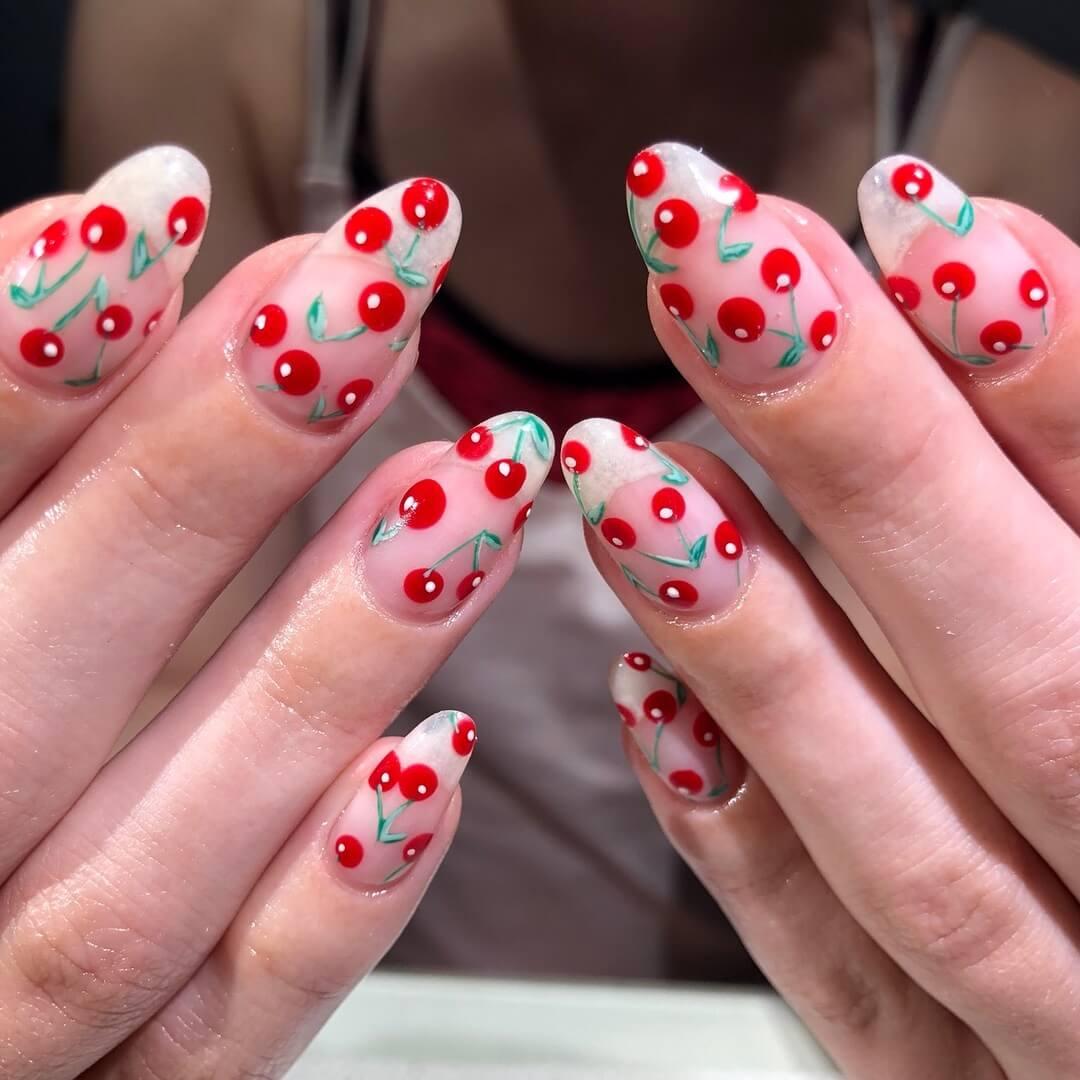 Cute Cherry Red Nail Art Designs