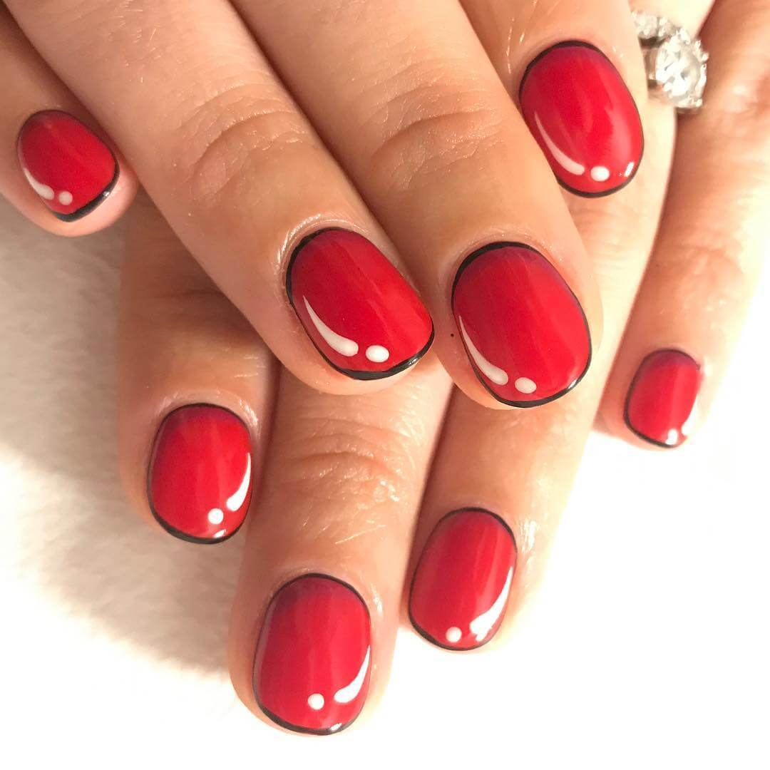 Cartoon Red and White Nail Art Designs