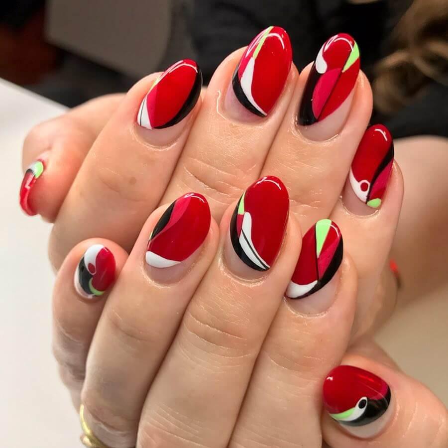Red Color Block Bird Inspired Nail Art Design