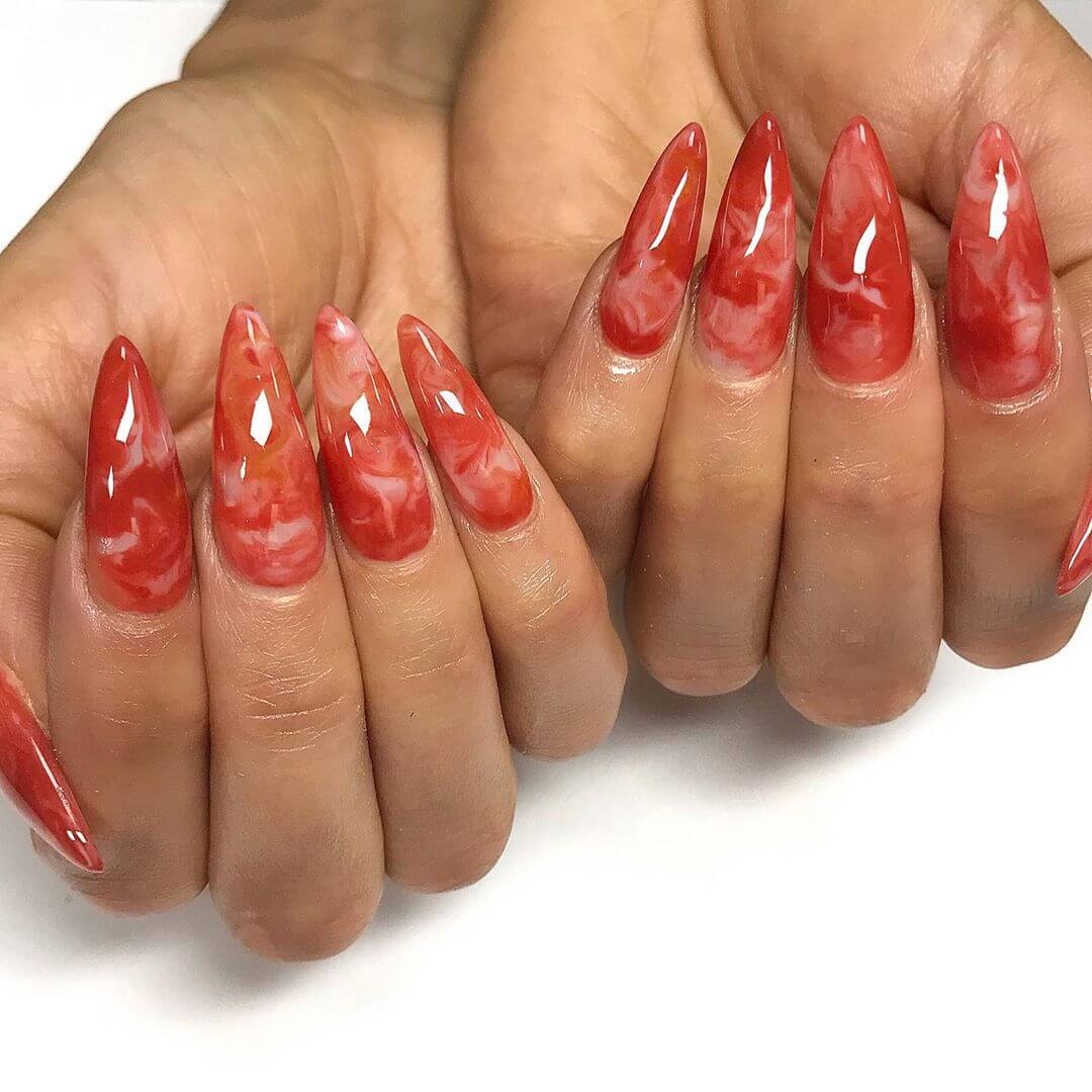 Dreamy Red Marbles Nail Art Design