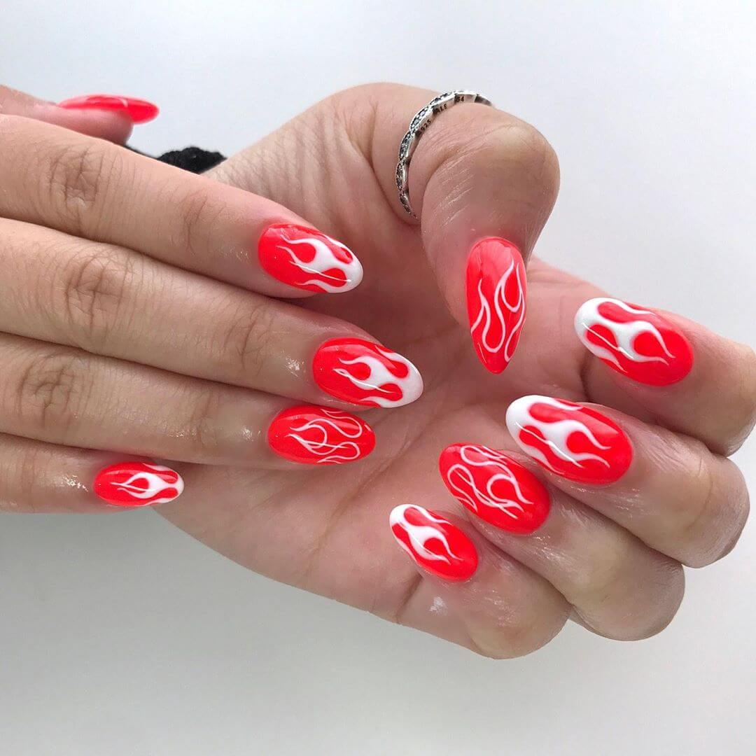 Nail On Fire Red Nail Art Designs