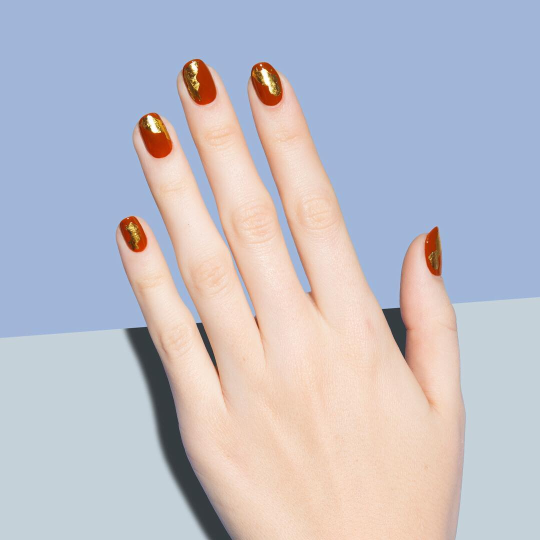 Red And Golden nail Art Design