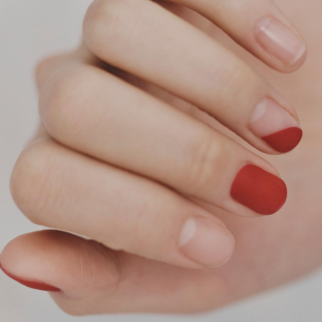 Nudely Red Matte Nail Art Designs