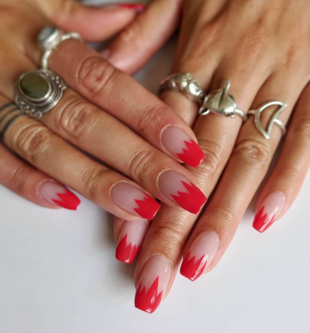 Jagged Edge Red Nail Art Designs