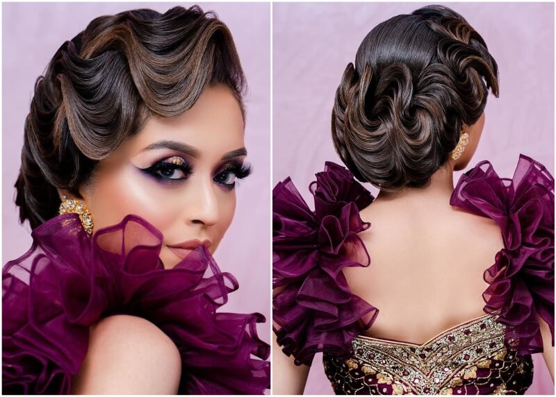 Hairstyles with Gown for Indian Weddings
