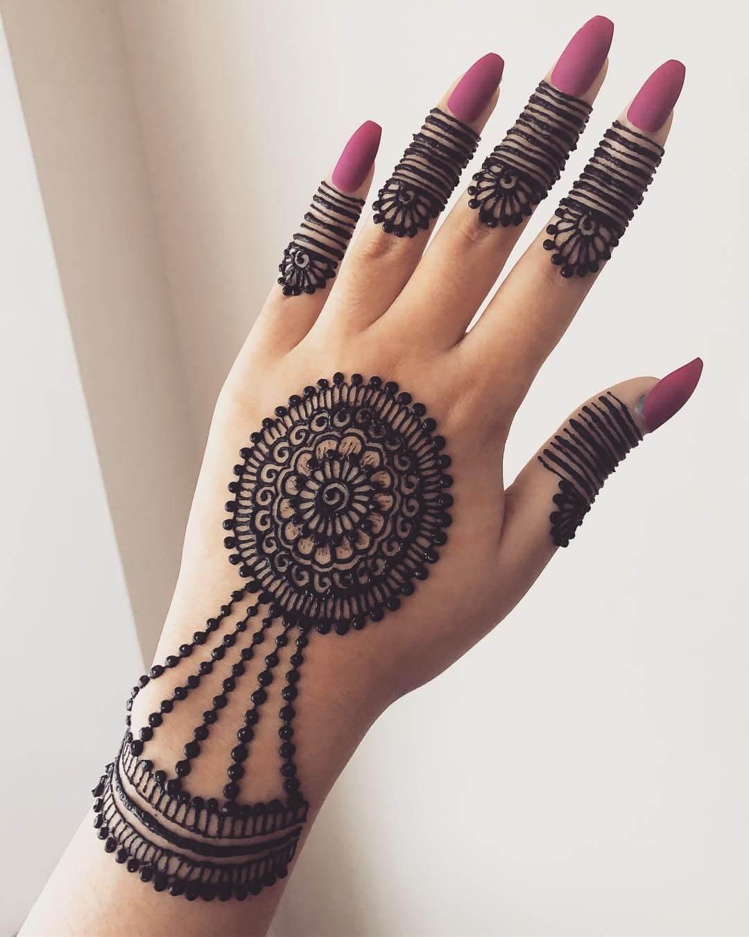 Slave Bracelet And Flower Finger Tip Ring Mehndi Design For Back Hands