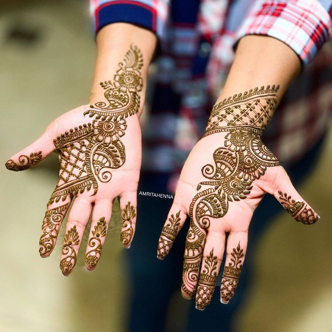Net Pattern With Petals Stylish Arabic Henna Mehndi Design For Hands