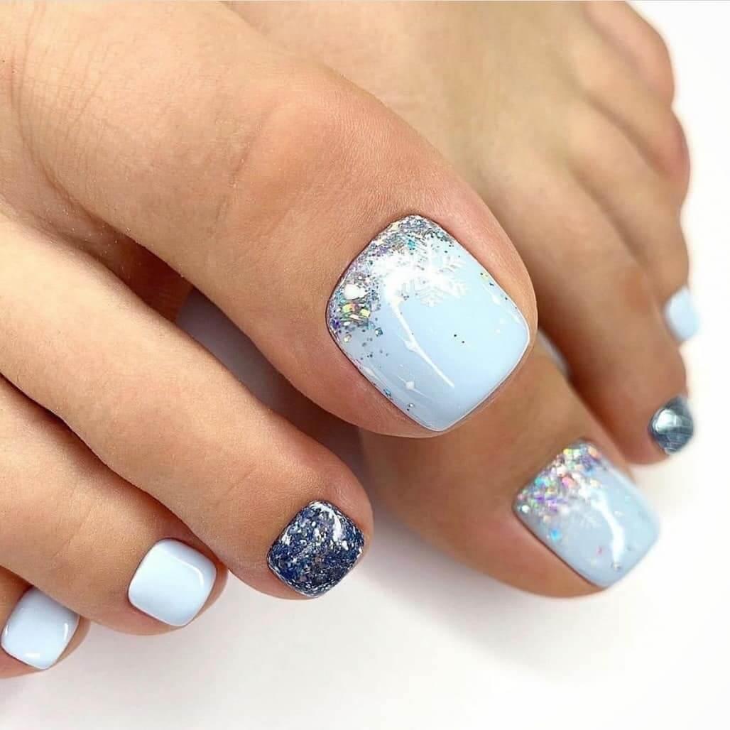 Blues with Silver polish Toe Nail Art Designs