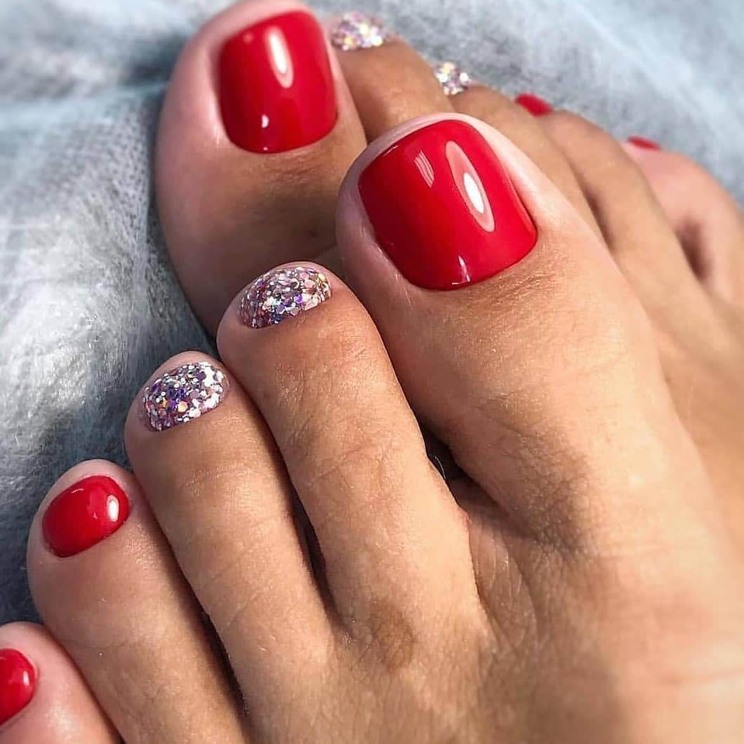 Red And Silver Toe Nail Art Designs