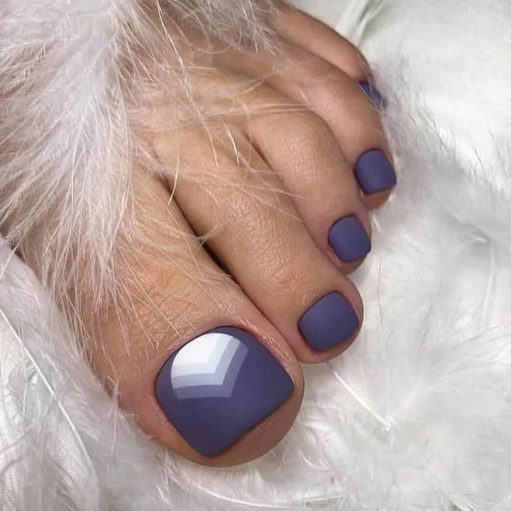 Purple Matte Toe Nail Art Designs