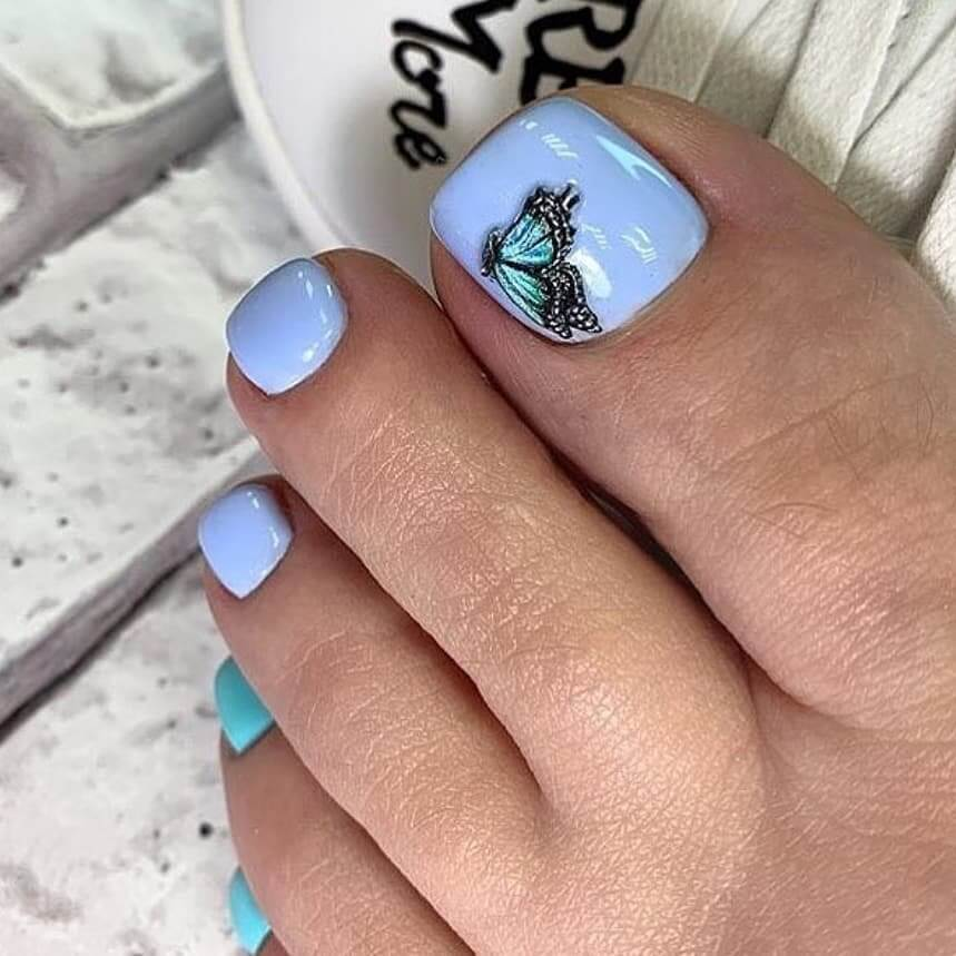 Blue Nail Paint With Black Butterflies Toe Nail Art Designs