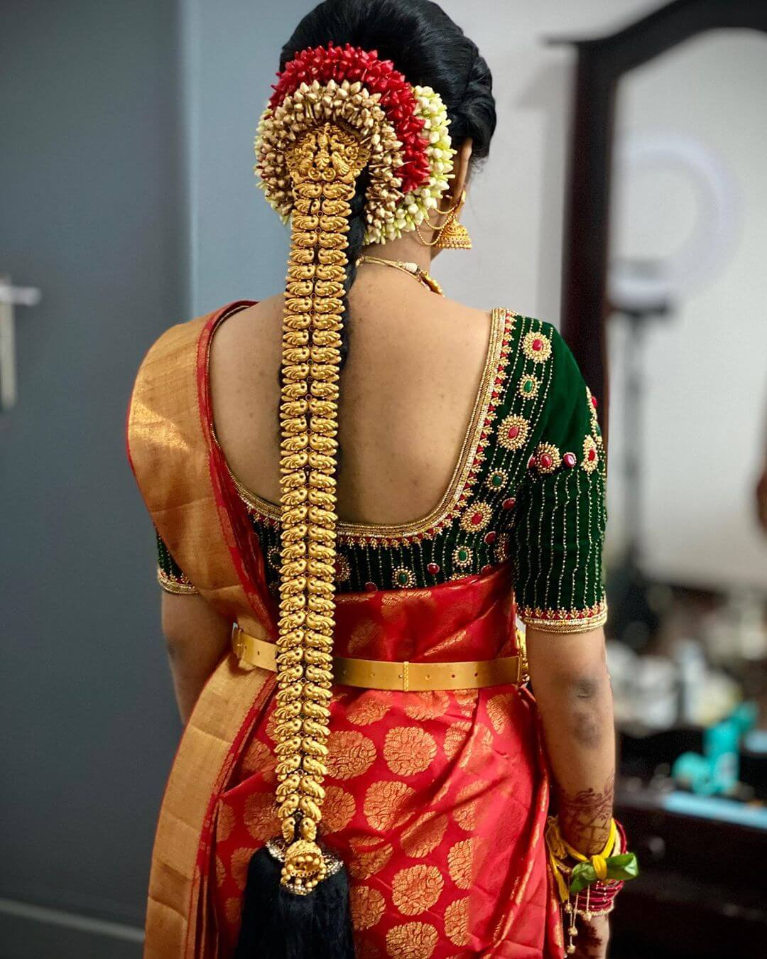 Gold Traditional South Indian Bridal HairstylesJewel Strip Braid