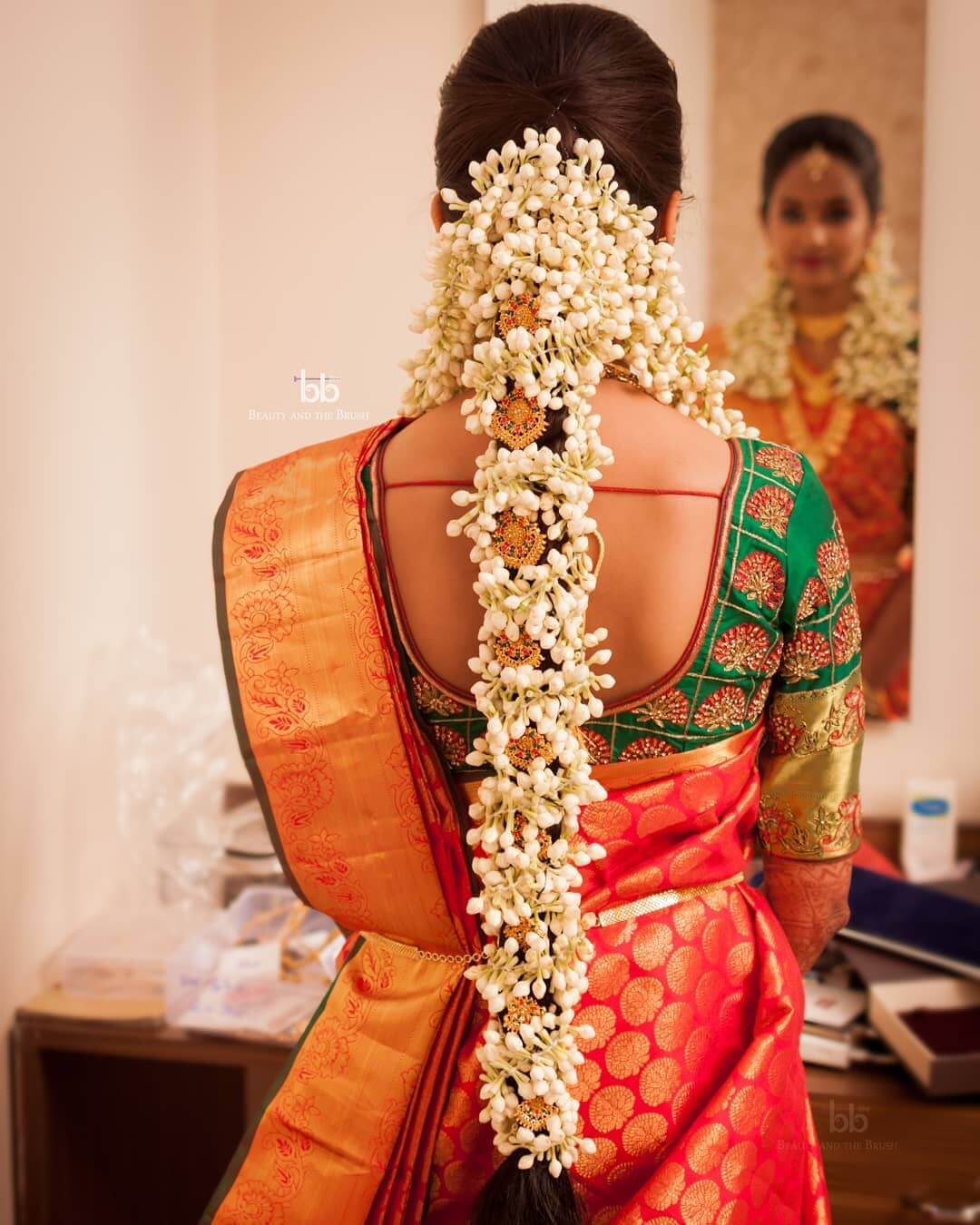 Garland Cover Braid Traditional South Indian Bridal Hairstyles