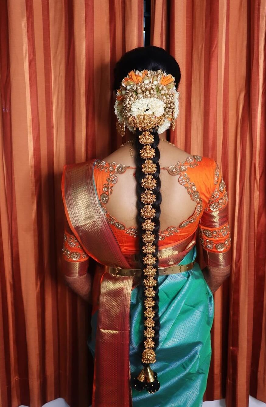 Traditional South Indian Bridal Hairstyle With Jewel Join Ornaments