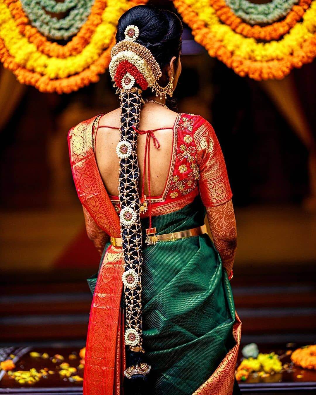Net Garland Cover Traditional South Indian Bridal Hairstyles