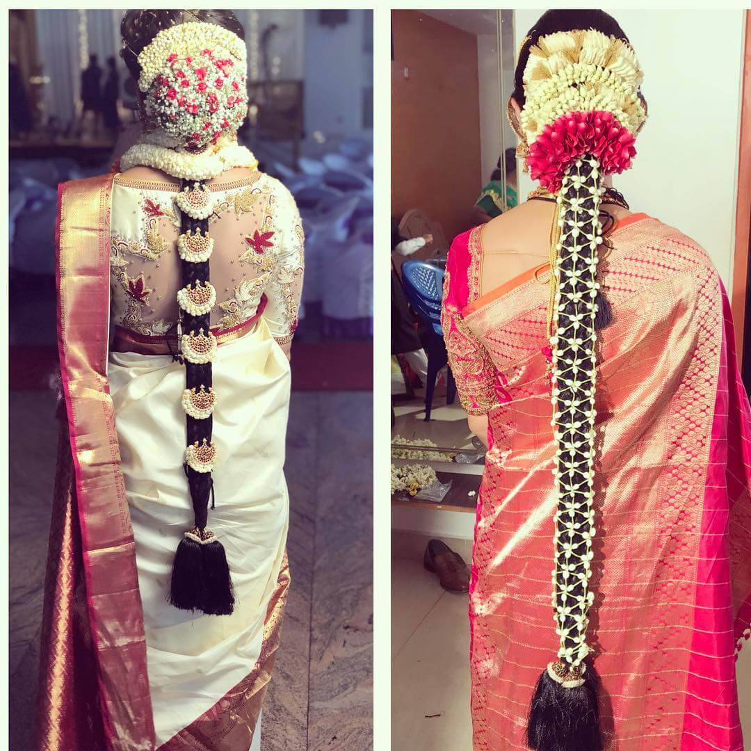 Floral Net Vein And Garland Traditional South Indian Bridal Hairstyles