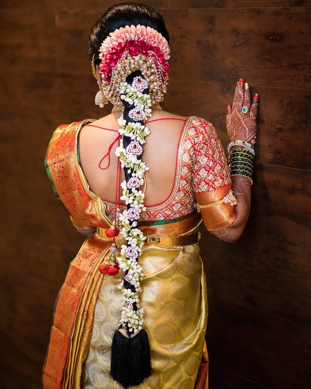 Floral Vein And Stones Traditional South Indian Bridal Hairstyles