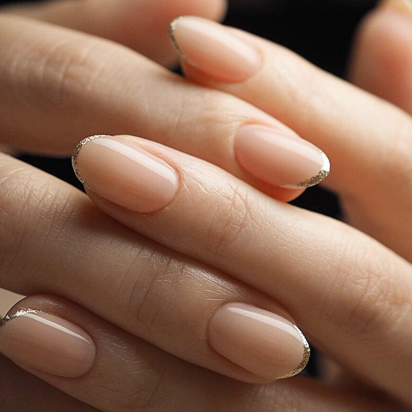 Light nail paint with golden cap length Wedding Nail Art Designs