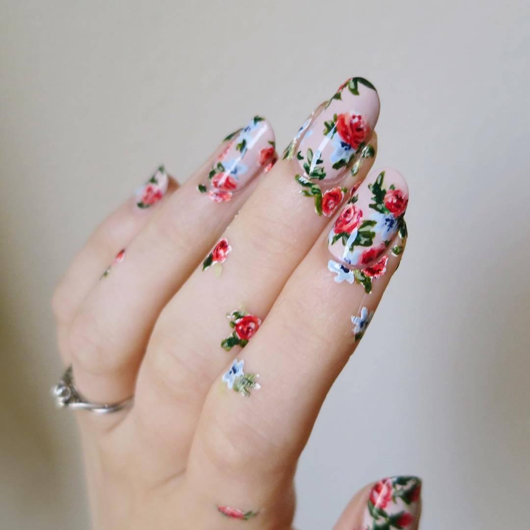 Flower garden Wedding Nail Art Designs