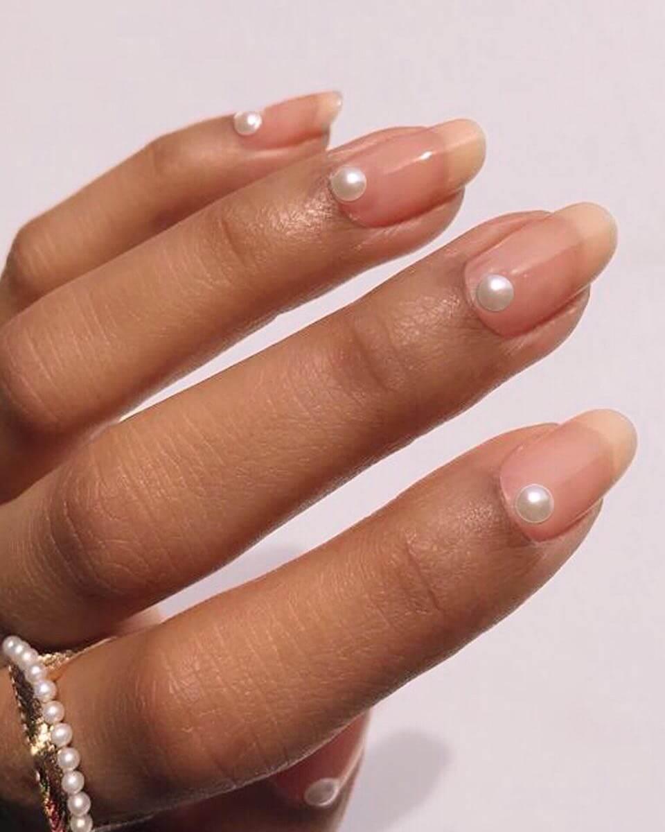 Creamy base nail Wedding Nail Art Designs
