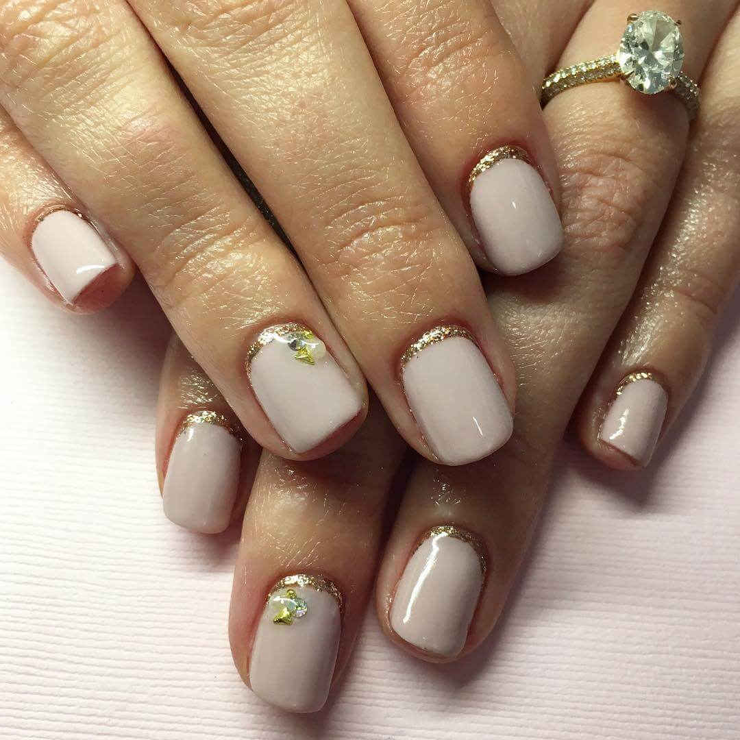 Light color with golden base Wedding Nail Art Designs