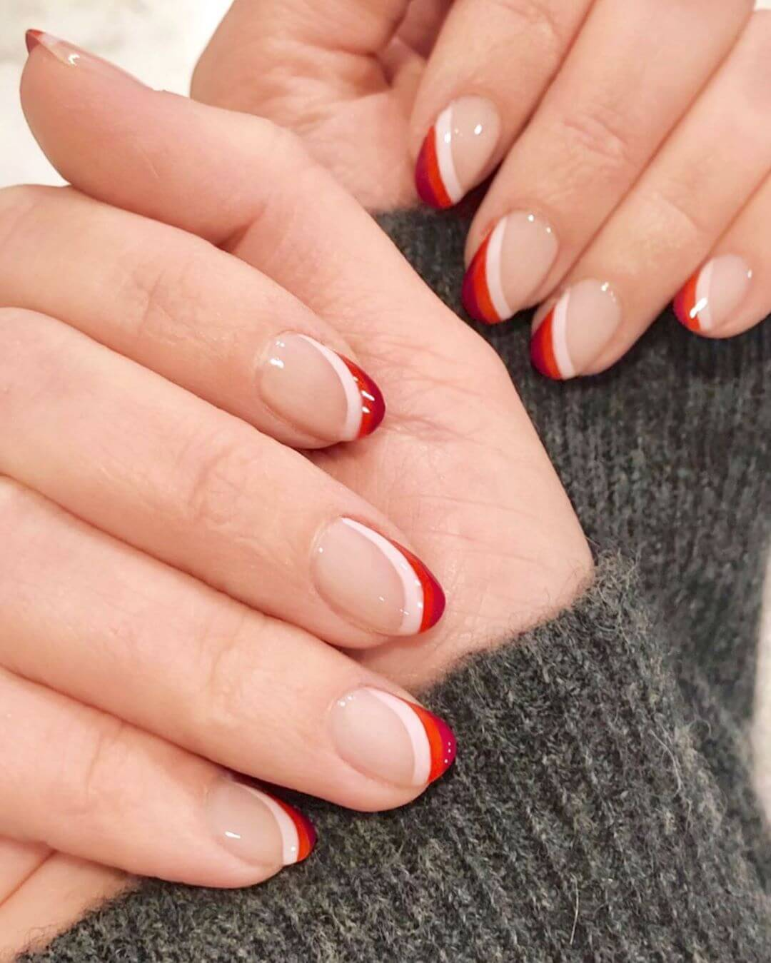 Narrow curve multi layer Wedding Nail Art Designs
