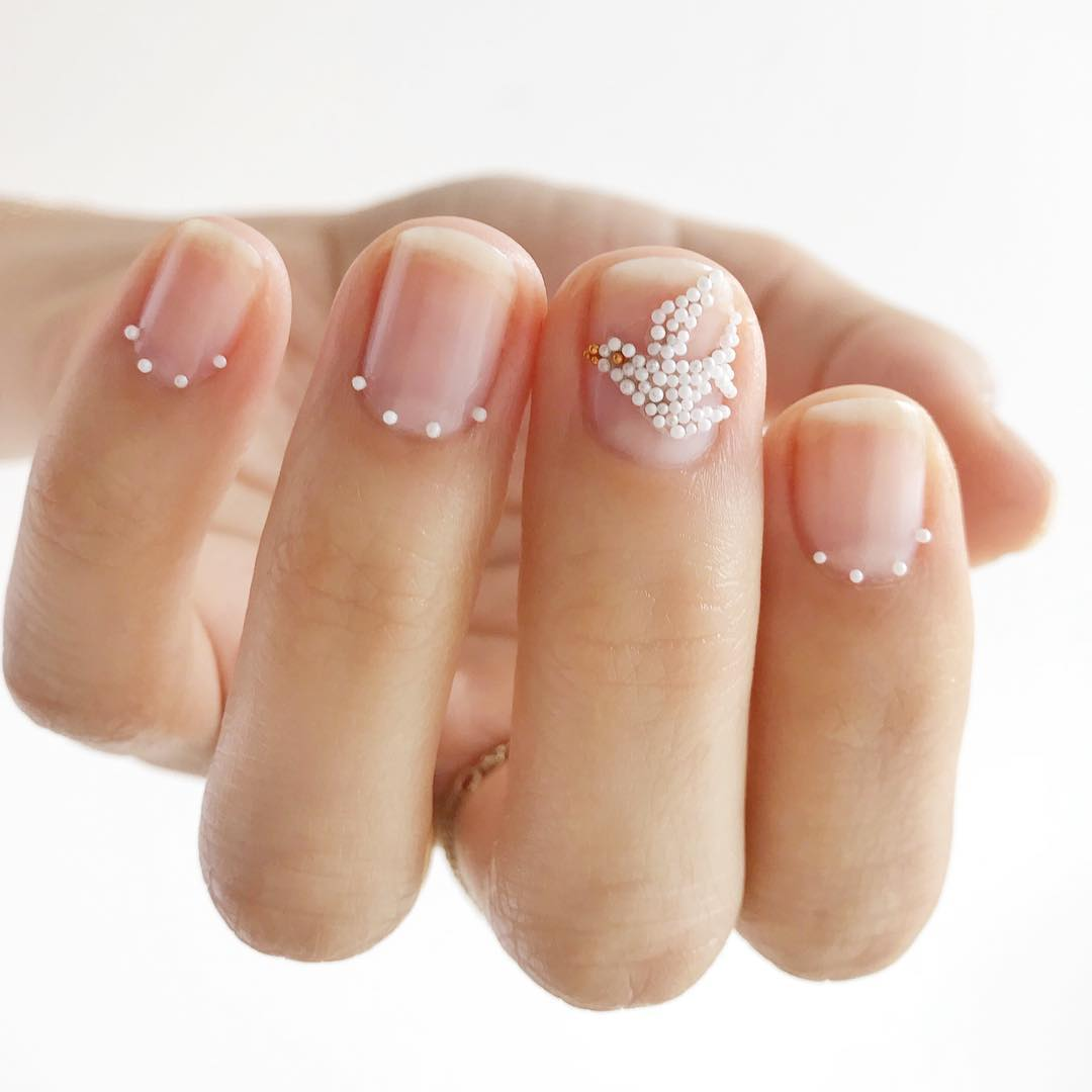 White Dot point Wedding Nail Art Designs