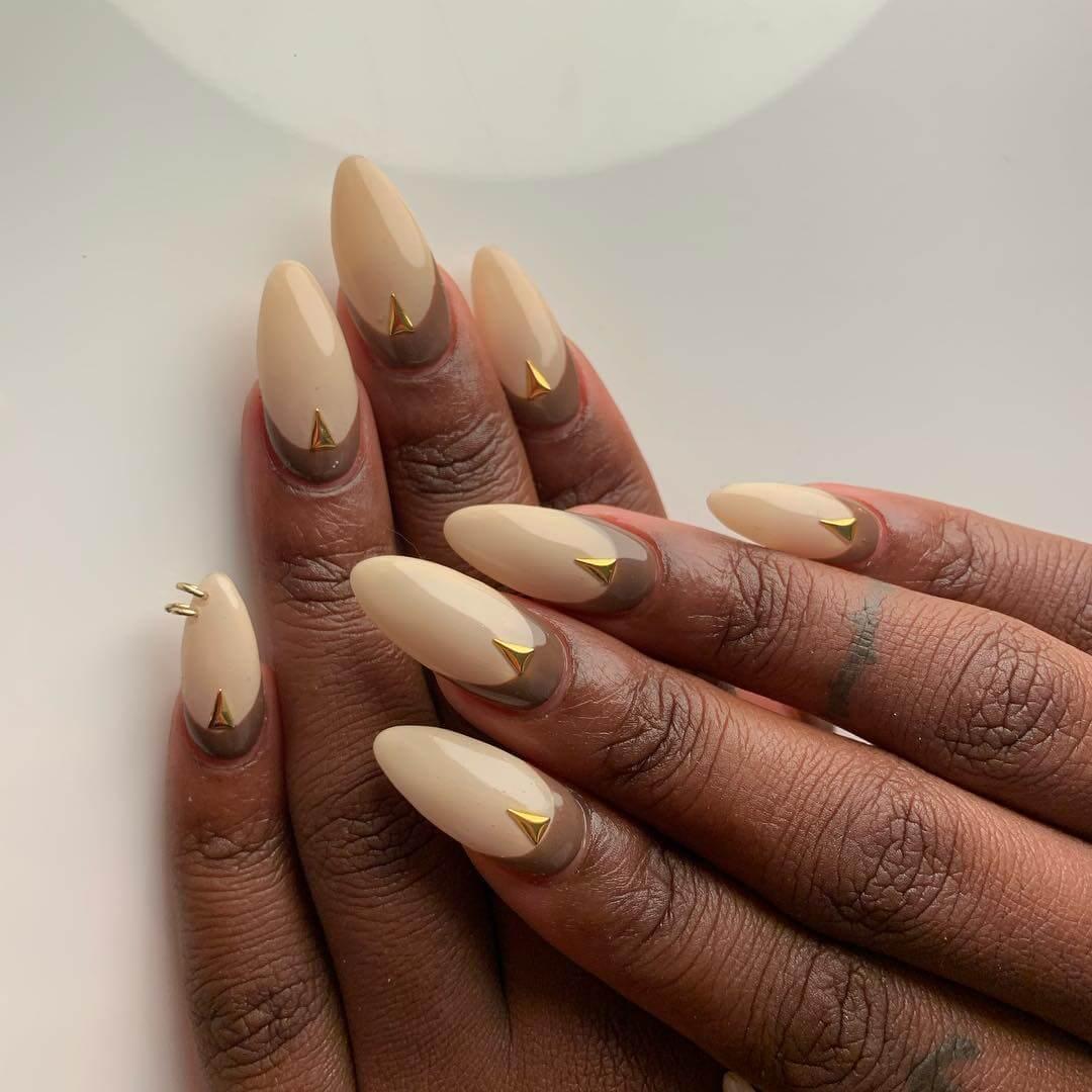 Golden And Brown Wild Wedding Nail Art Designs