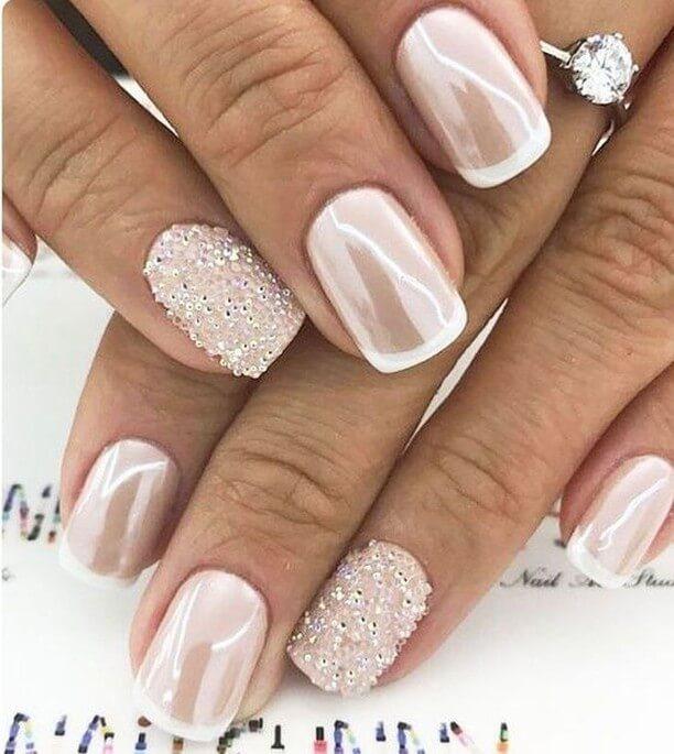 Sparkling White Wedding Nail Art Designs