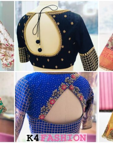 Silk Saree Blouse Back Neck Designs for South Indian Bride