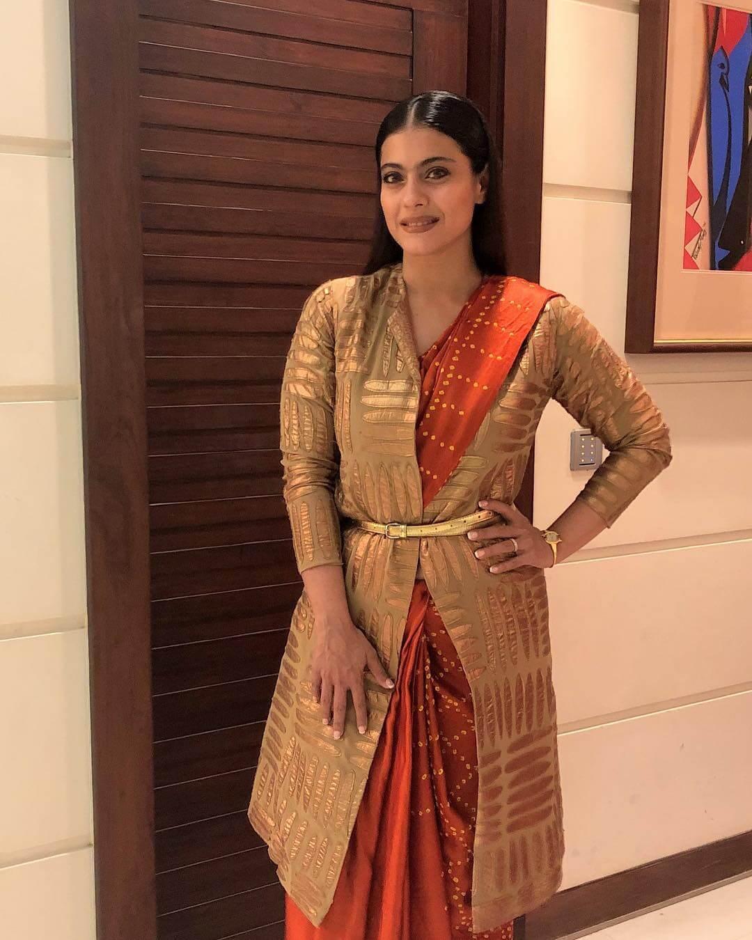 Kajol Devgan Sari with a belt Outfit Ideas