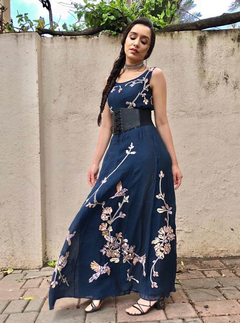 Sharradha Kapoor Floor length elegant belted outfit Belted Outfit Ideas