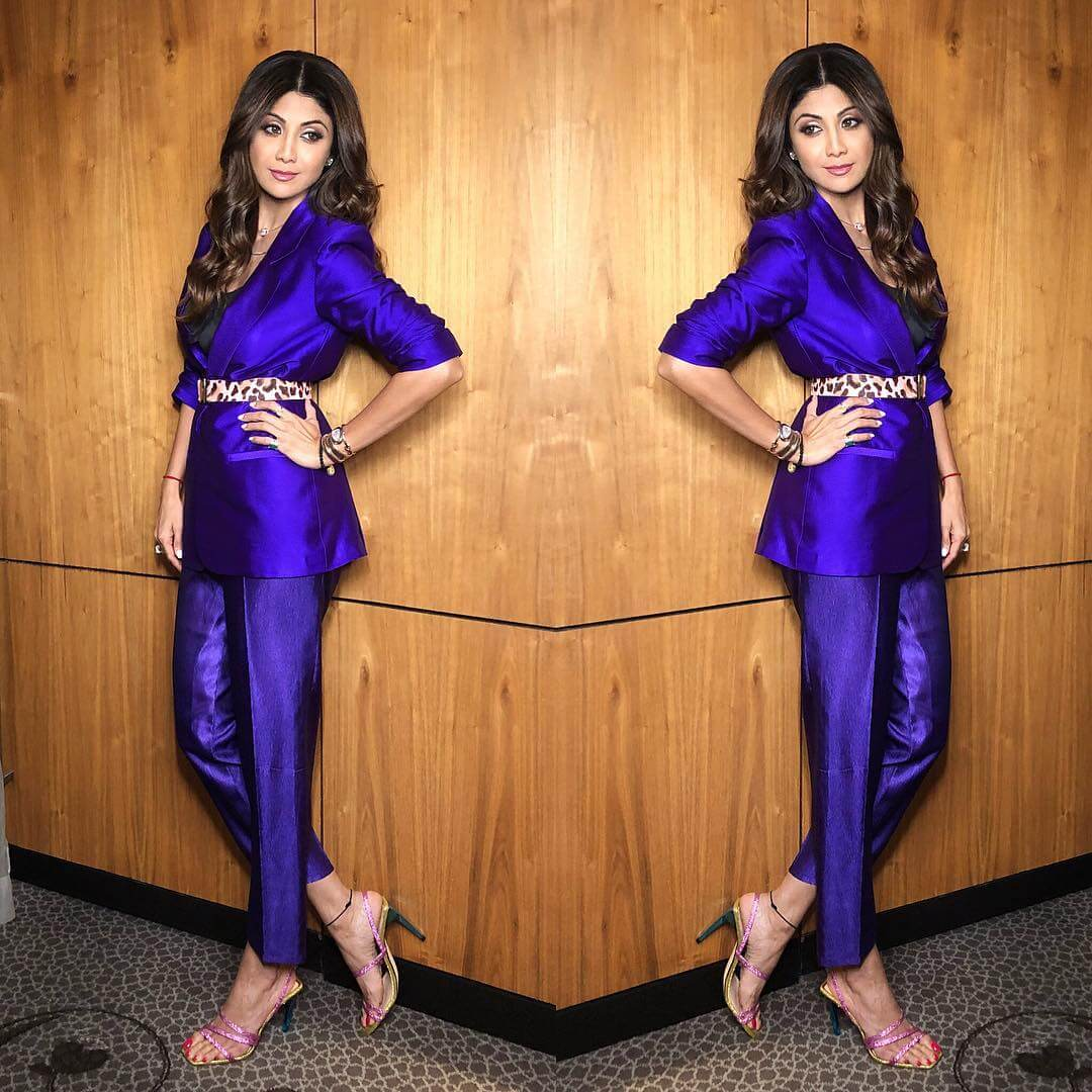 Silpa Shetty Tiger belt with pant and blazer Belted Outfit Ideas