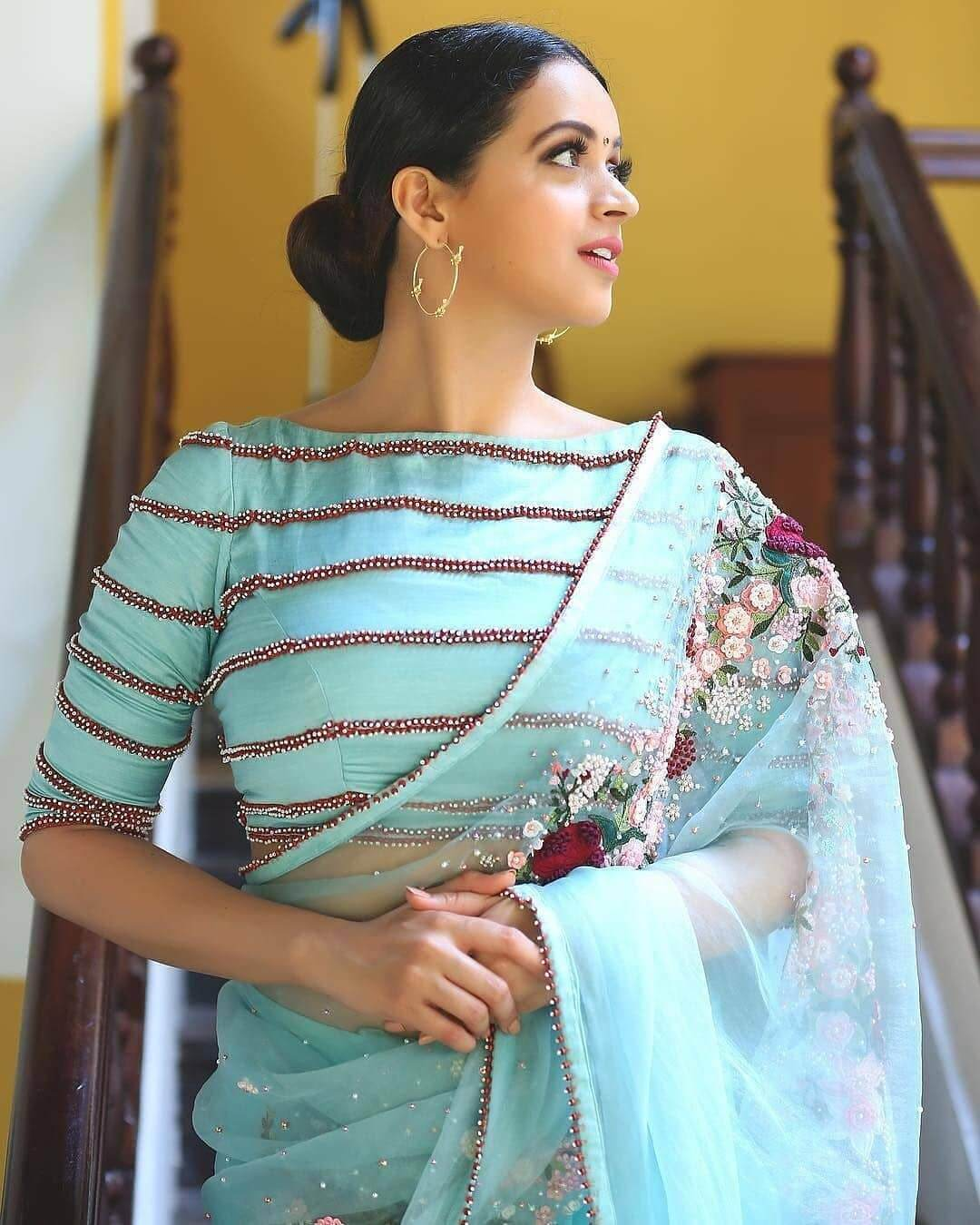 Plain Blue Boat Neck Blouse Covered With Lace Design