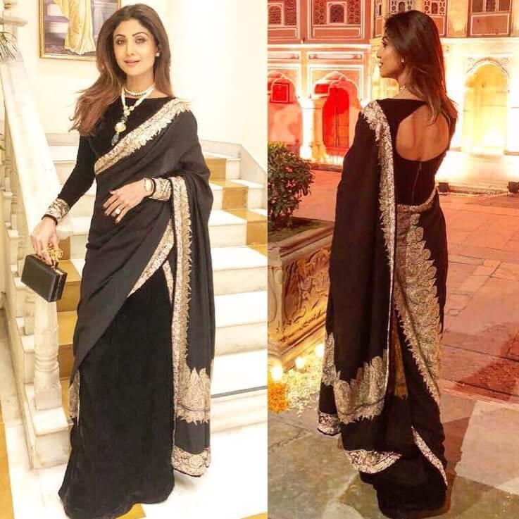 Shilpa Shetty Stylish Back Full Sleeved Velvet Boat Neck Blouse