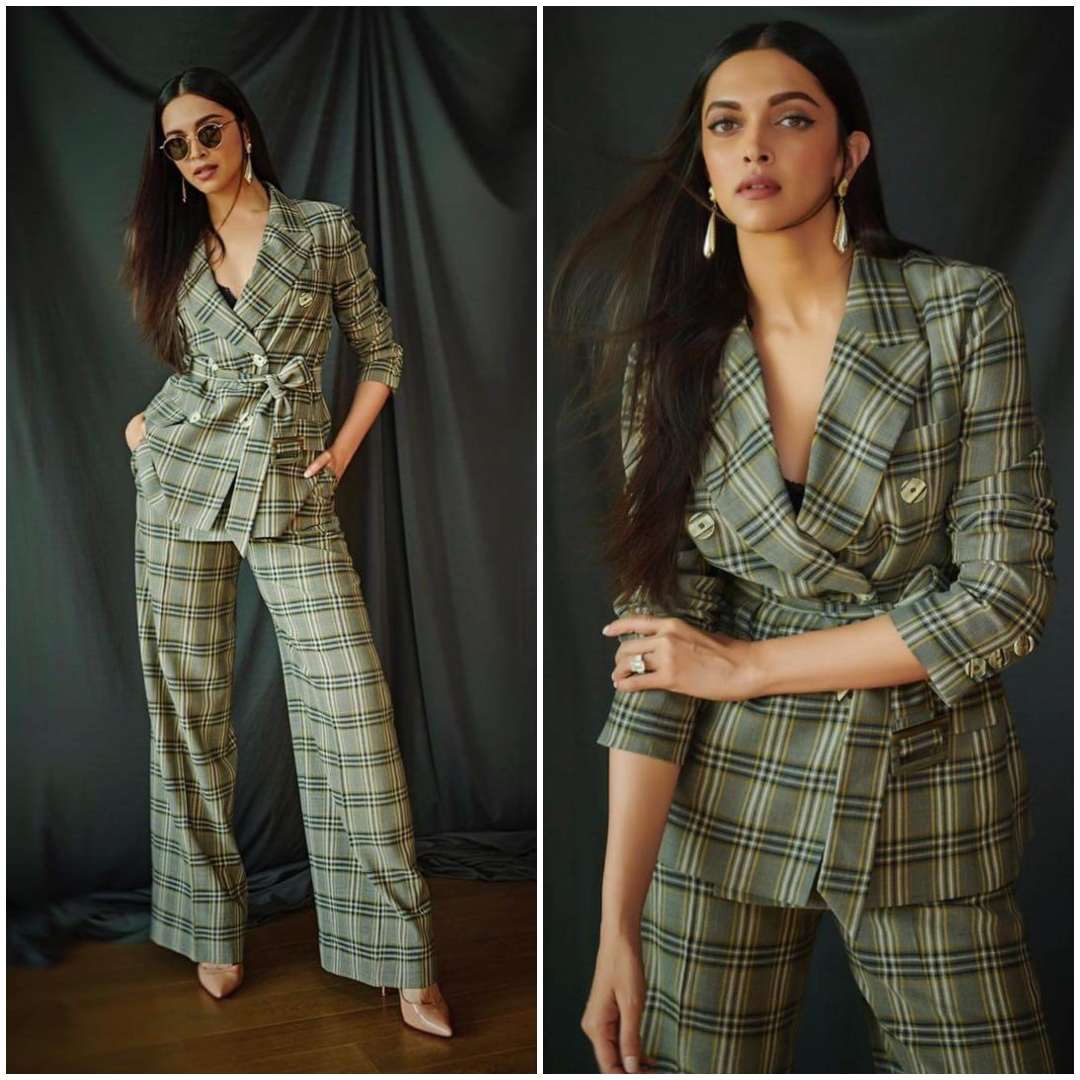 Slay The Way Like Deepika Padukone In Double Breasted Checks Coords