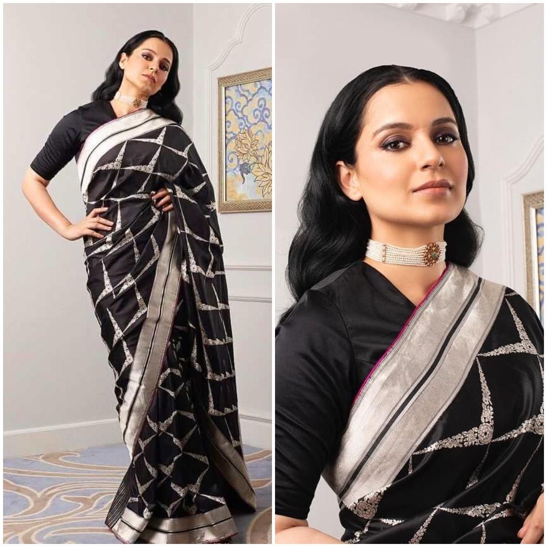 Kangana Ranaut Fusion Of Black And Silver Urban Checks In A Traditional Saree