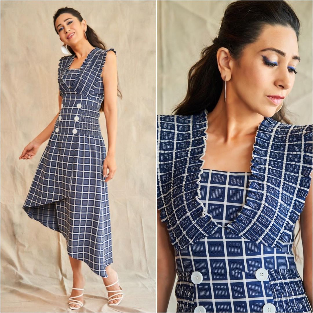 Karishma Kapoor In A Blue anD White High Low Checks Dress