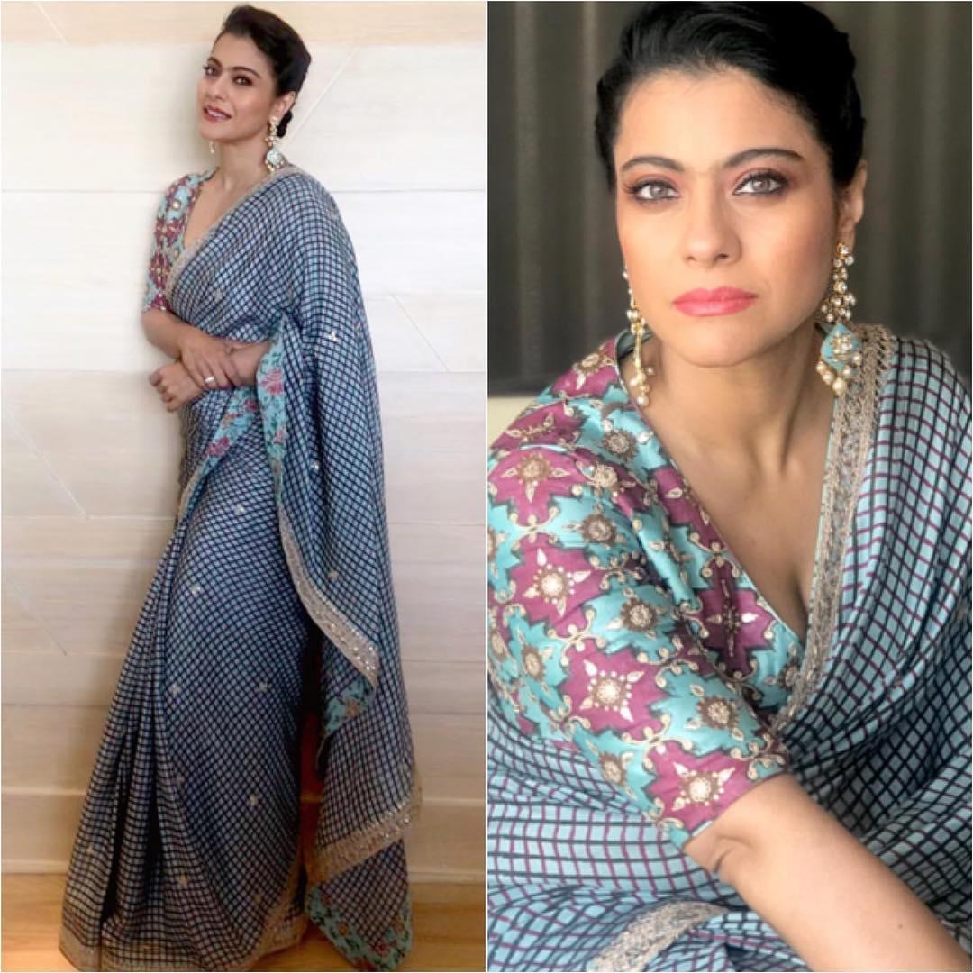 Kajol in Check Printed Saree – Lady India