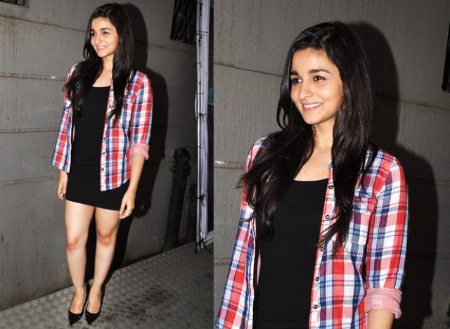 Alia Bhatt In Tartan Plaid Shirt On little Black Dress With Pointed heels