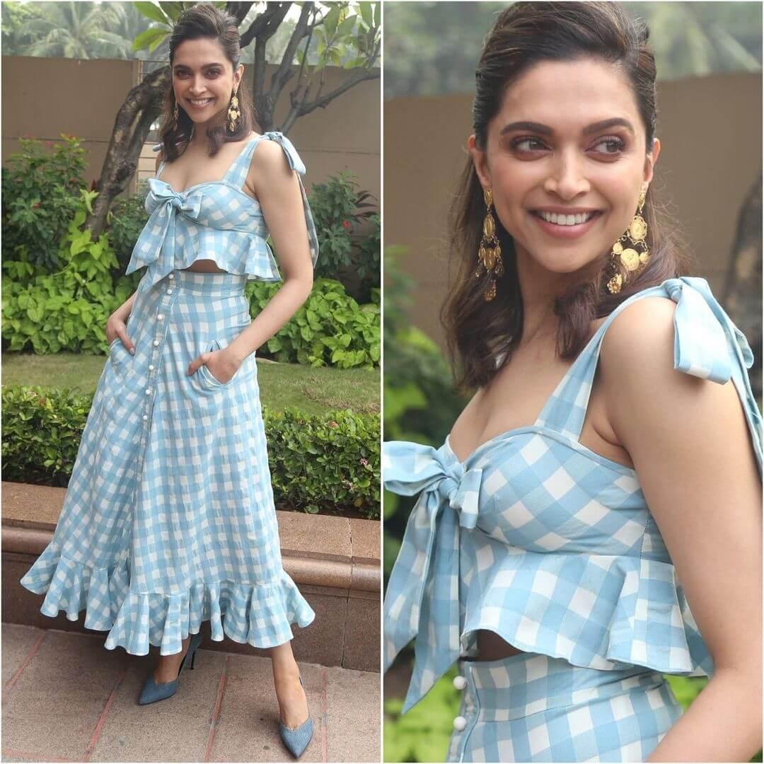 Deepika Padukone In Soothing Blue and White Checks Skirt Top