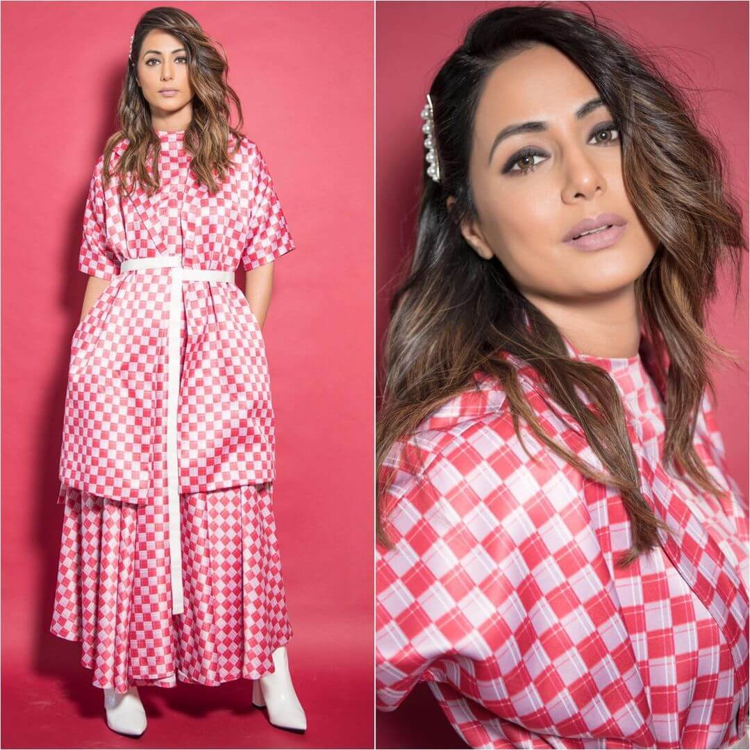 Hina Khan In An Illusion of Red And Pink Checks Dress