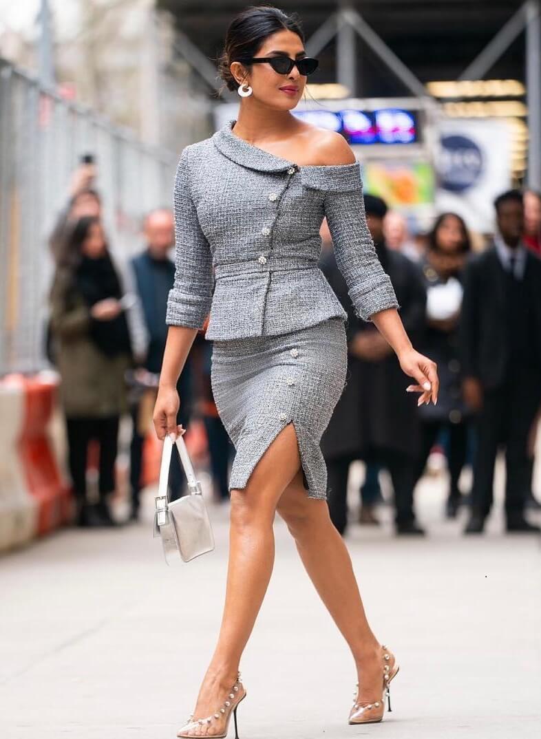 Priyanka Chopra Sexy Semi off-shoulder Chick Outfits for Work