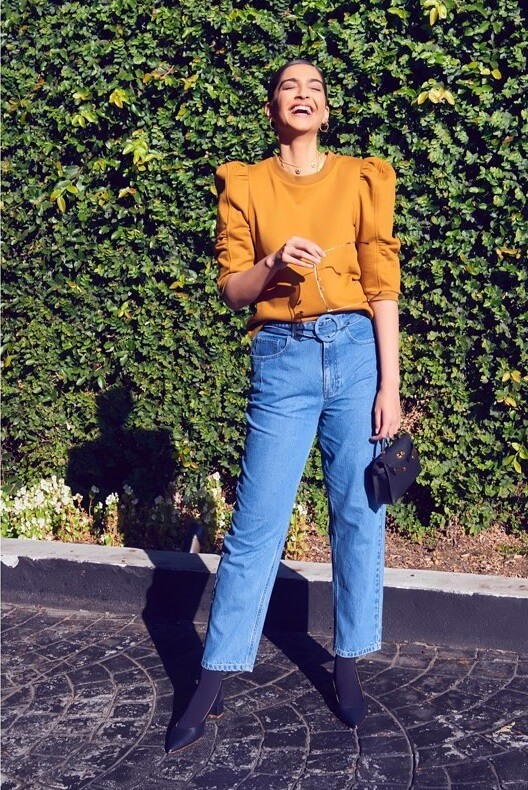 Sonam Kapoor Orange top and Jeans Chick Outfits for Work