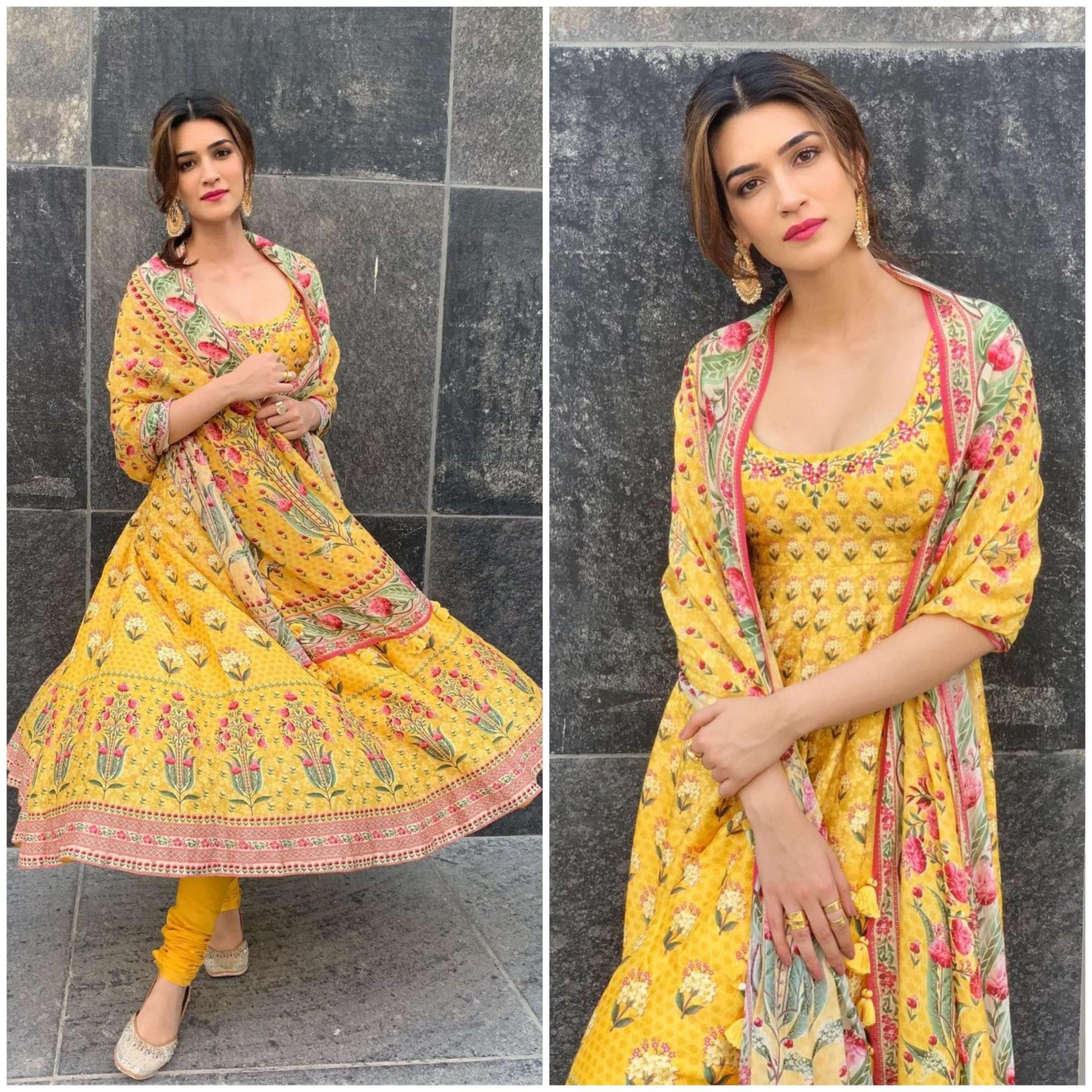 Kriti Sanon beautiful Yellow Floral Print Designer Dress