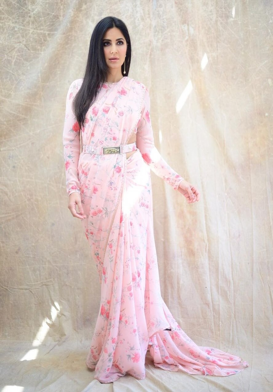 Katrina Kaif beautiful Pink Floral Print Designer Saree Dresses