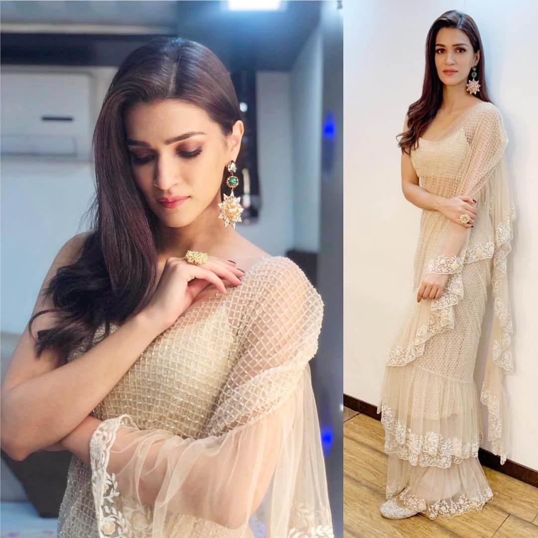 Kriti Sanon Beautiful Floral Print Designer Dress pastels nets