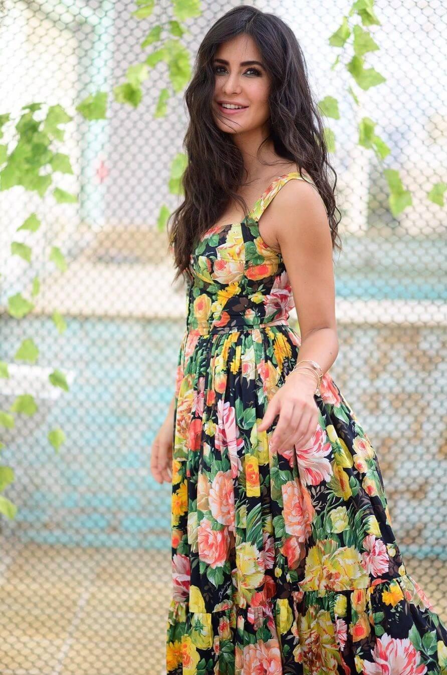 Katrina Kaif Beautiful maxis with frills Floral Print Designer Dress