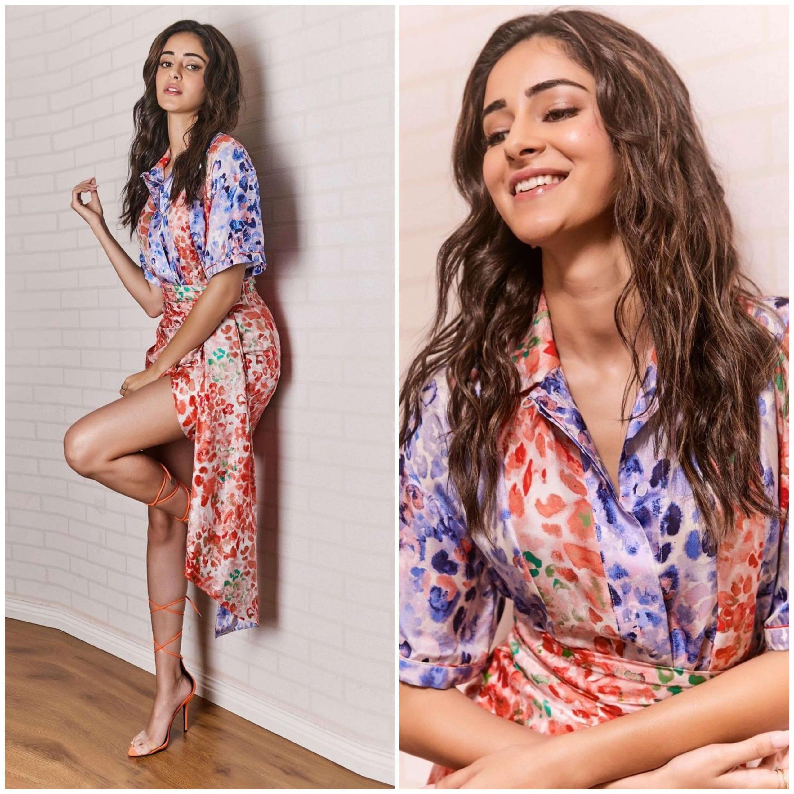 Ananya Panday Beautiful Floral Print Designer Dress