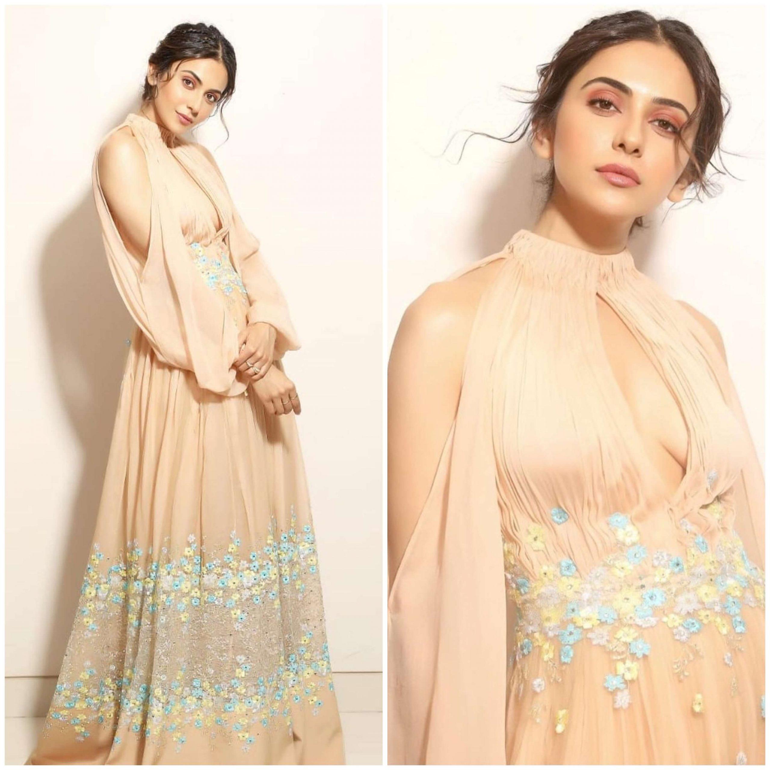 Rakul Singh classic pastel Beautiful Floral Print Designer Dress